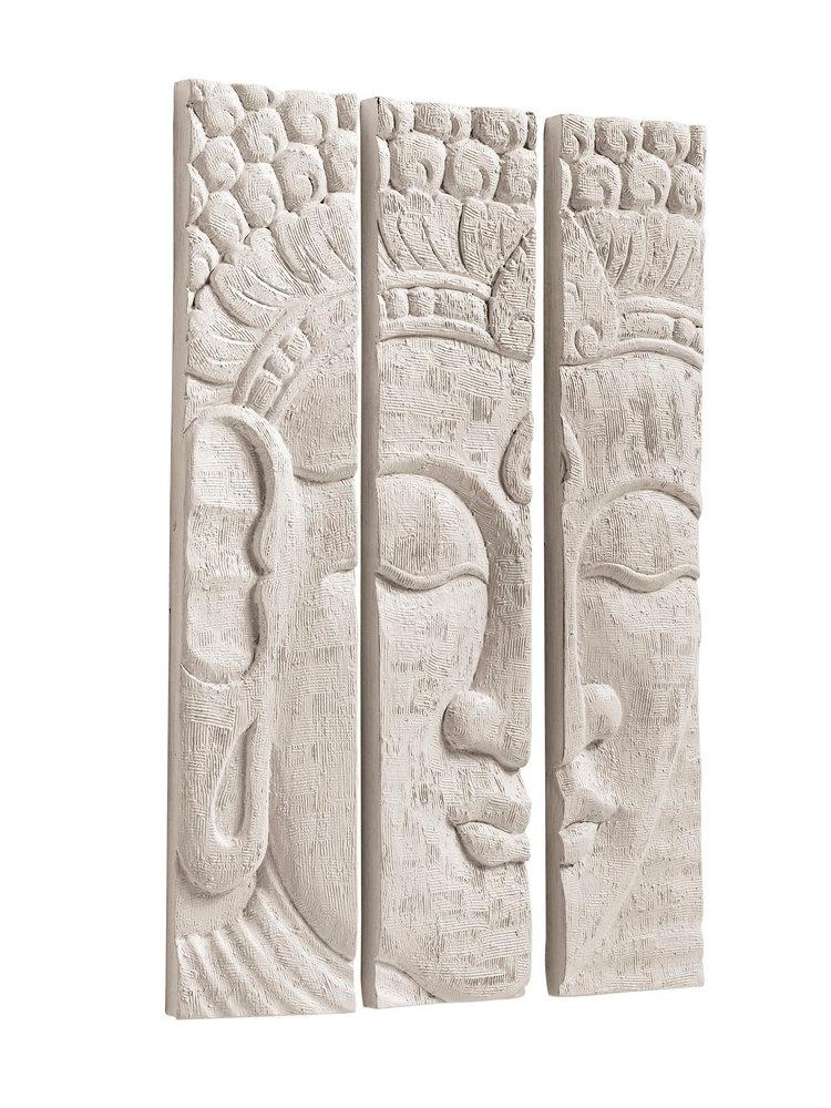 12) Een 3-delige wanddecoratie boeddha.Drie delen vormen samen een ...